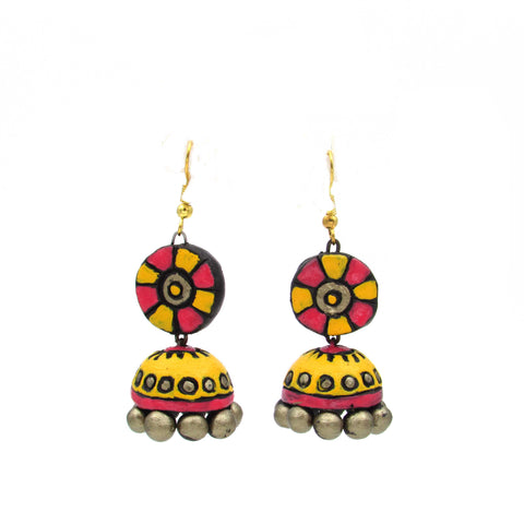 Buy Online Terracotta Jewellery pink yellow hanging jhumka jhumki - Samreedhi Handicrafts