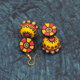 Buy Online Terracotta Jewellery pink yellow hanging jhumka jhumki 7- Samreedhi Handicrafts