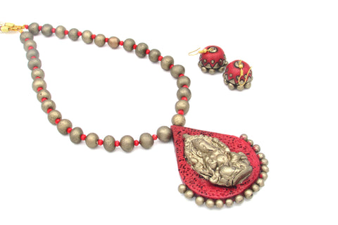 Buy Online Terracotta Jewellery set Lord Ganesha pendant - Samreedhi Handicrafts
