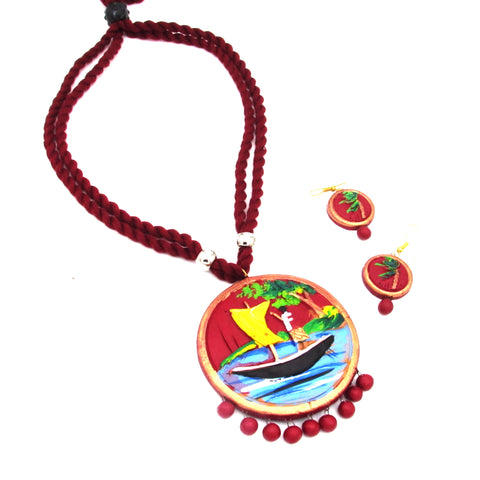 Buy Online Terracotta Jewellery trendy collections boat painted pendent - Samreedhi Handicrafts