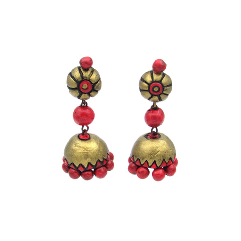 Buy Online Terracotta antique gold Jhumka Jhumki - Samreedhi Handicrafts