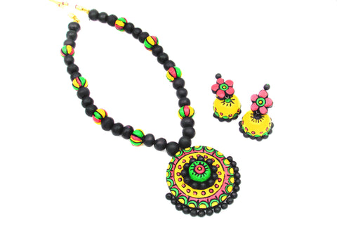 Buy Online Terracotta black Jewellery set with round shape pendant - Samreedhi Handicrafts