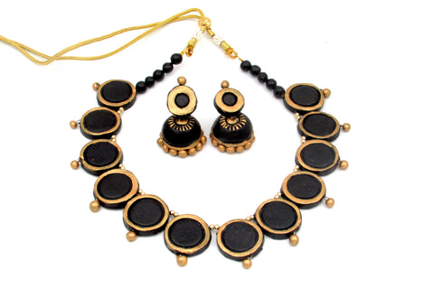 Buy Online Terracotta choker necklace black geeni set - Samreedhi Handicrafts
