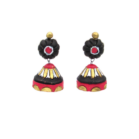 Buy Online Terracotta floral base conical jhumka jhumki - Samreedhi Handicrafts