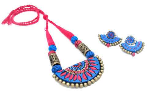 Buy Online Terracotta jewellery set with semi circle pendant - Samreedhi Handicrafts