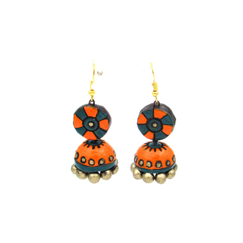 Buy Online Terracotta orange green hanging jhumka jhumki - Samreedhi Handicrafts