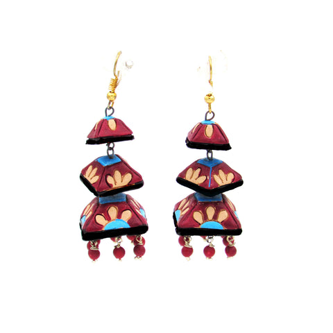 Buy Online Terracotta three layer Long maroon Jhumka jhumki - Samreedhi Handicrafts