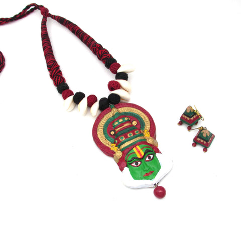 Buy Online Terracotta trendy Jewellery Set Kathakali Pendant set- Samreedhi Handicrafts