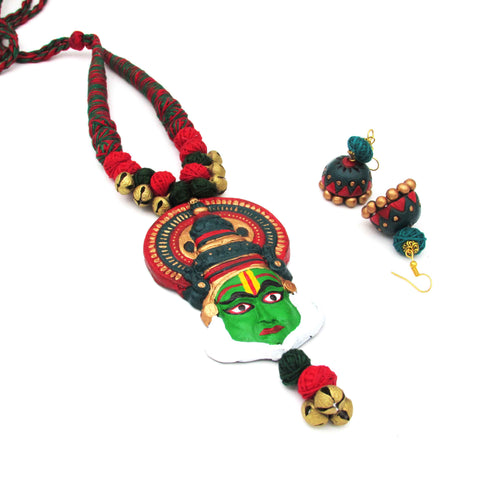 Buy Online Terracotta unique Jewellery Set with Kathakali Pendant - Samreedhi Handicrafts