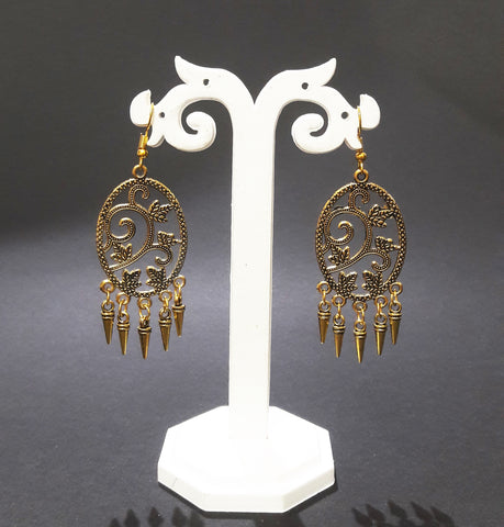 Buy Antique Oxidised Gold color Chandbali Earrings for Women - Samreedhi Handicrafts