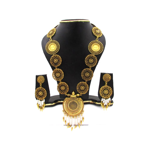 Buy Online Antique Gold Long Jewellery Set- Samreedhi Handicrafts