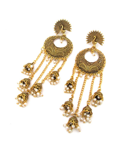 Buy Online Antique Gold Peacock Stud Sunflower Yellow Chandbali Jhumka Jhumki 1- Samreedhi Handicrafts