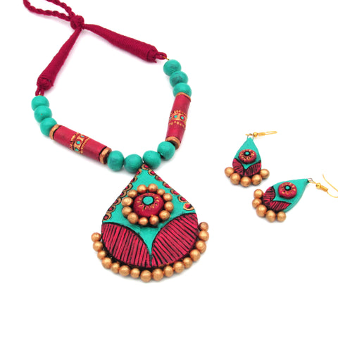 Buy Online Daily wear Terracotta Jewellery Set with trendy cotton rope 2- Samreedhi Handicrafts