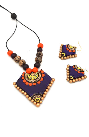 Buy Online Daily wear blue orange terracotta necklace - Samreedhi Handicrafts