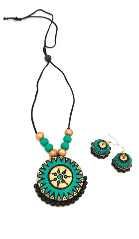 Buy Online Daily wear terracotta jewellery set with jhumka - Samreedhi Handicrafts