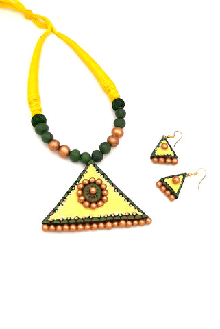 Buy Online Daily wear terracotta lemon yellow neckpiece - Samreedhi Handicrafts