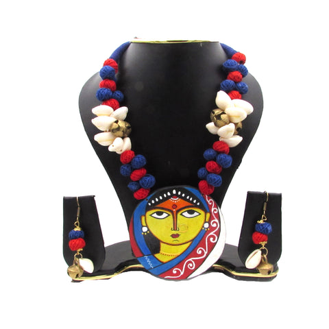 Buy Online Fashion Jewellery Set with artistic Jamini Roy pendant - Samreedhi Handicrafts