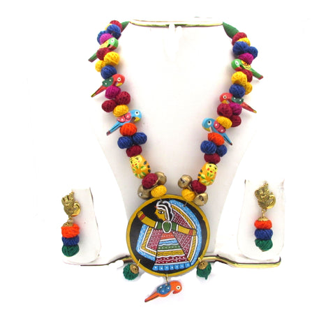Buy Online Fashion Jewels Set with Artistic wooden pendant for women 2- Samreedhi Handicrafts.