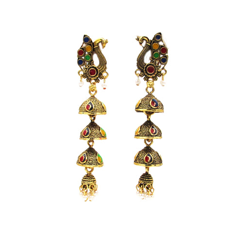 Buy Online Golden Oxidised Jhumki earrings for women - Samreedhi Handicrafts