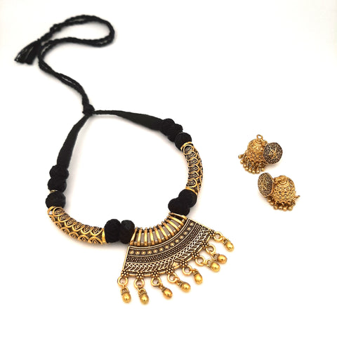 Buy Online Golden Oxidised daily wear jewellery set for women 1- Samreedhi Handicrafts
