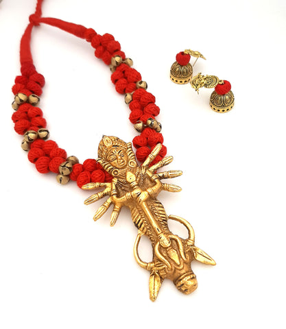 Buy Online Golden oxidise jewellery set with Maa Durga pendant - Samreedhi Handicrafts