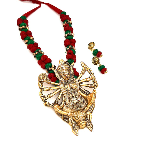 Buy Online Golden oxidised jewellery Maa Durga Pendant 1- Samreedhi Handicrafts