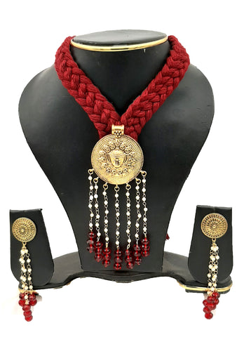 Buy Online Golden oxidised necklace set with moti chain - Samreedhi Handicrafts