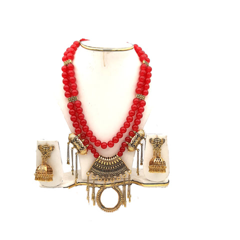 Buy Online Golden oxidised red glass beads necklace for women - Samreedhi handicrafts