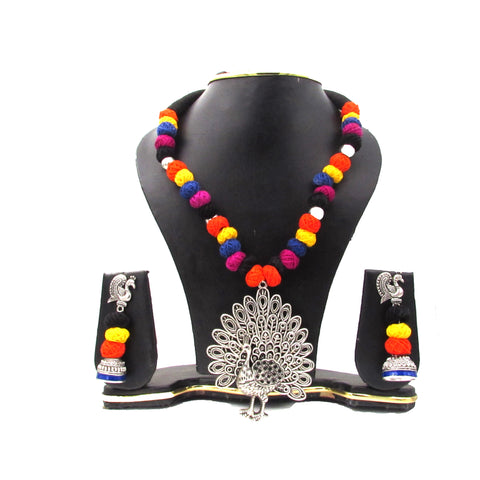 Buy Online Multi Colour Oxidised Jewellery Set Peacock Pendant 1- Samreedhi Handicrafts