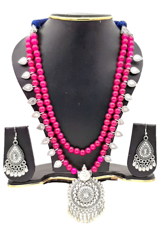 Buy Online Multi layer oxidised long necklace set for women - Samreedhi Handicrafts