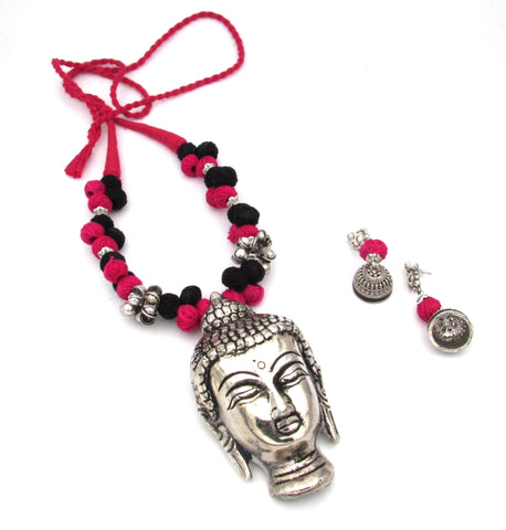 Buy Online Oxidise Jewellery with Buddha Pendant Magenta Black - Samreedhi Handicrafts