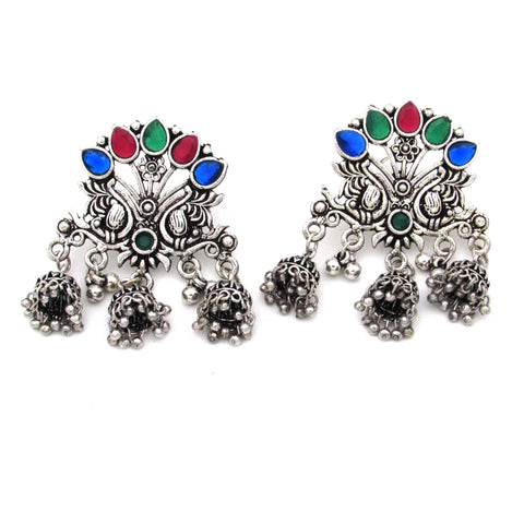 Buy Online Oxidise Multi Color Jhumka for women - Samreedhi Handicrafts