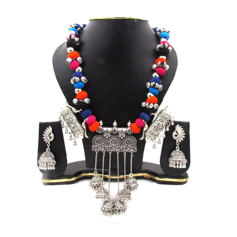 Buy Online Oxidise Multi Color Three pendant Jhumka Jewellery Set - Samreedhi Handicrafts