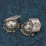 Buy Online Oxidise Scripted grand jhumki jhumka for women 2- Samreedhi Handicrafts