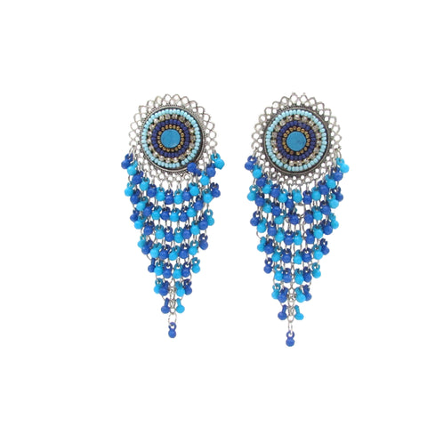 Buy Online Oxidised Blue Drop Earring for Girls Chandbali Earring - Samreedhi Handicrafts