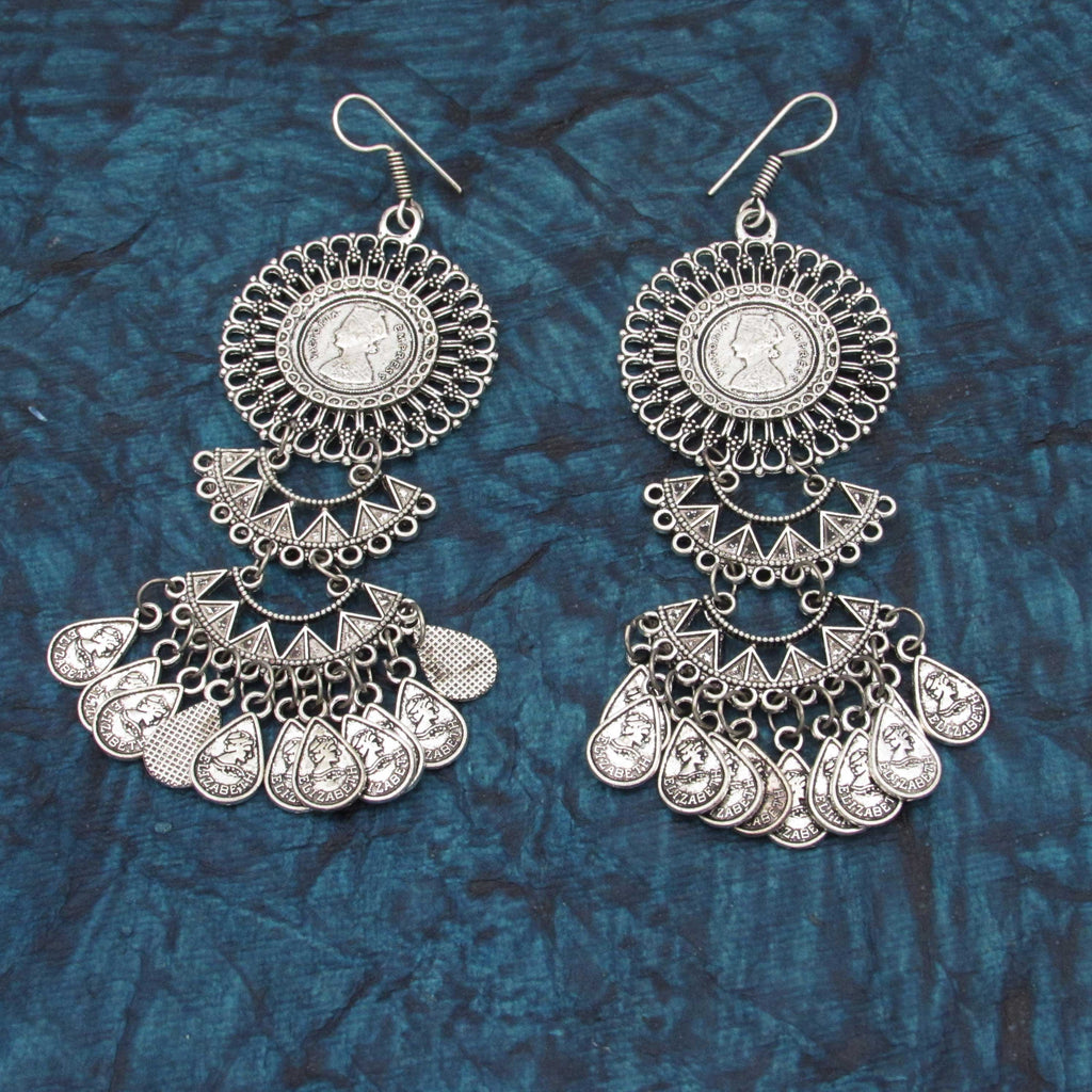 Oxidised Earrings Long Geeni – Samreedhi Handicrafts