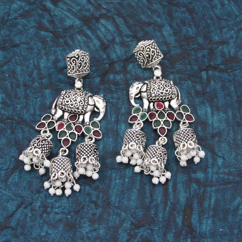 Buy Online Oxidised Elephant Jhumki Earrings - Samreedhi Handicrafts