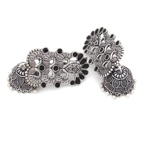 Buy Online Oxidised Fashion Jhumka Black Minakari- Samreedhi Handicrafts