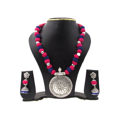 Buy Online Oxidised Jewellery Set with round shape pendant for women - Samreedhi Handicrafts