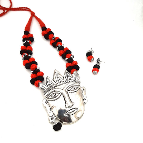 Buy Online Oxidised Jewellery Set with tribal face pendant 1- Samreedhi Handicrafts.