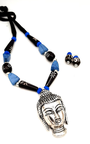 Buy Online Oxidised Jewellery set Buddha pendant for women 1- Samreedhi Handicrafts