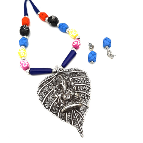 Buy Online Oxidised Jewellery set multi colour Ganesha Pendant 1- Samreedhi Handicrafts