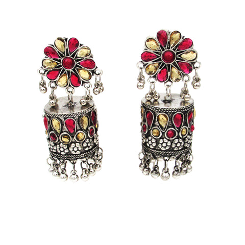 Buy Online Oxidised Jhumki Earring Pipe Shape Red and Yellow Stone For Women- Samreedhi Handicrafts