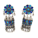 Buy Online Oxidised Jhumki Earring Pipe Shape blue stone For Women- Samreedhi Handicrafts