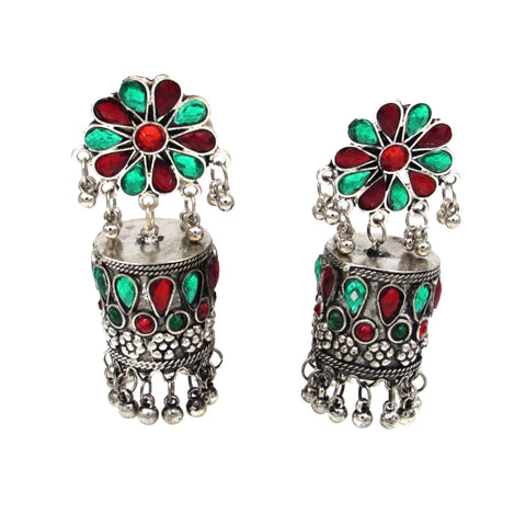 Buy Online Oxidised Jhumki Earring Pipe Shape red and green Stone For Women - Samreedhi Handicrafts
