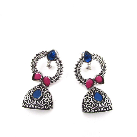 Buy Online Oxidised Jhumki Jhumka Minakari red and Blue Stone for women 2- Samreedhi Handicrafts