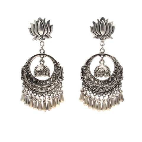 Buy Online Oxidised Lotus Chandbali Earrings for Women - Samreedhi Handicrafts