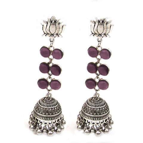 Buy Online Oxidised Minakari Lotus Jhumki for women - Samreedhi Handicrafts