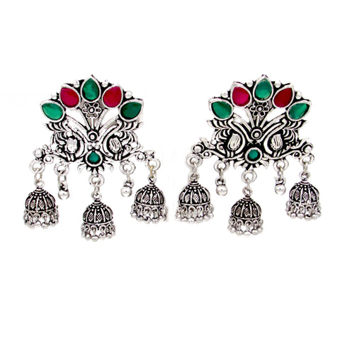 Buy Online Oxidised Minakari Multi jhumka Earrings 1- Samreedhi Handicrafts