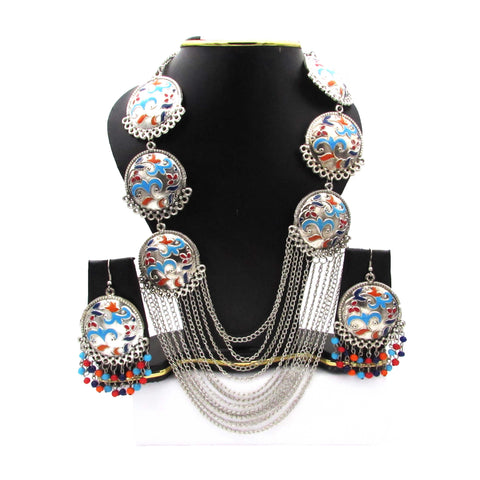 Buy Online Oxidised Multi Layer Chain Jewellery Set - Samreedhi Handicrafts
